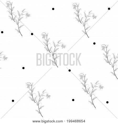 Twig and polka seamless pattern. Fashion graphic background design. Modern stylish abstract texture. Monochrome template for prints textiles wrapping wallpaper website etc. Vector illustration