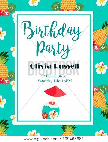 Hawaiian bright invitation with pineapples, flowers and text