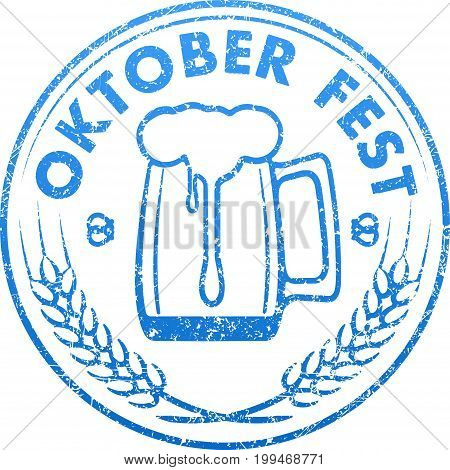 Blue grunge style rubber stamp design with glass of beer ears of barley and caption Oktoberfest.