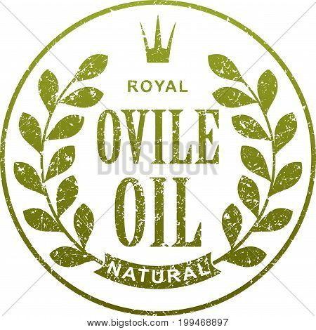 Olive Oil Abstract Label With Branch And Crown In Grunge Style For Your Design.
