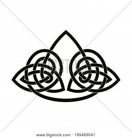 Celtic national angular ornament interlaced tape. Black ornament isolated on white background.