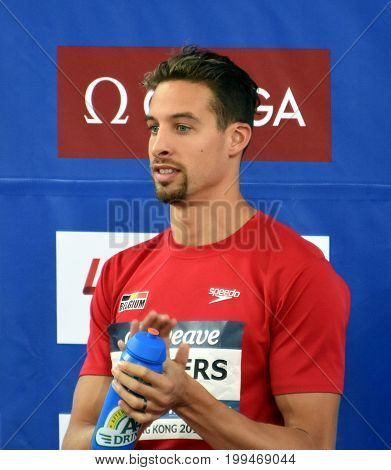Hong Kong China - Oct 30 2016. TIMMERS Pieter (BEL) at the Victory Ceremony of the Men's Freestyle 200m. FINA Swimming World Cup Victoria Park Swimming Pool