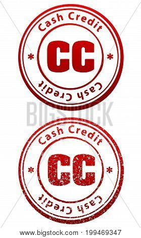 Pair of red rubber stamps in grunge and solid style with caption Cash Credit and abbreviation CC