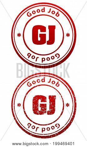 Pair of red rubber stamps in grunge and solid style with caption Good Job and abbreviation GJ