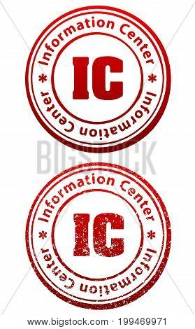 Pair of red rubber stamps in grunge and solid style with caption Information Center and abbreviation IC