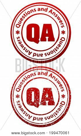 Pair Of Red Rubber Stamps In Grunge And Solid Style With Caption Questions And Answers And Abbreviat