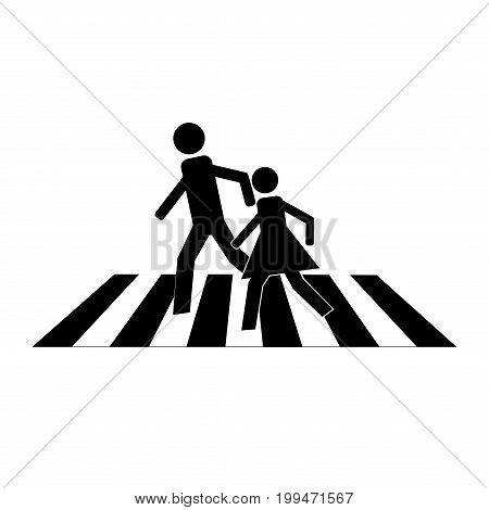 Crosswalk sign black on white background. Icon a pedestrian place for child near school. Symbol safety traffic human on road. Label for banner about crossing way. Design element. Vector illustration