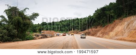 Panorama Construct Expand  Road In  Forest And Mountain.