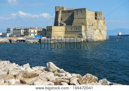 Naples, Italy - may 18, 2017: views of Castel dell'Ovo and gulf of Napless in good weather, Naples, Italy