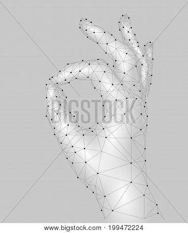 Sign Ok finger signal agreement. 3d low poly model of human hand connected dots point line. White gray color. Pecfect dish chef gesture concept vector illustration art