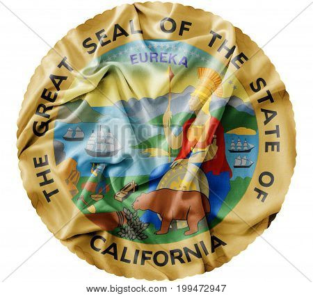 Ruffled waving United States California Seal flag