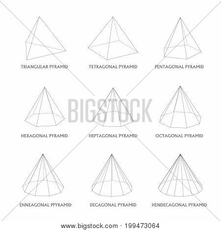 3d pyramids template. Realistic with shadow. Perfect for school, study, designers