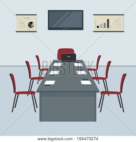 Conference hall. The office room is prepared for the meeting. There is a screen, a large desk and chairs in the picture. On the table is a laptop, paper for notes and pencils. Vector flat illustration
