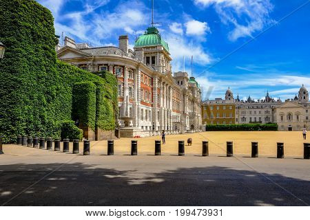 London United Kingdom - July 21 2017: Old Admiralty Building at Horseguard's Parade. A side view taken from St. Jame's Park.