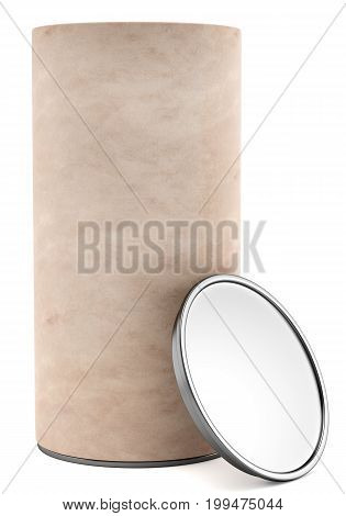 Blank paper cylindrical package with metal cap isolated on white background. 3d rendering