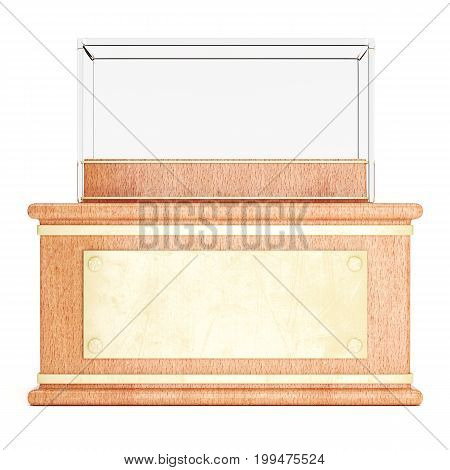 Empty glass showcase on wooden pedestal with golden plate in front isolated on white background. 3d rendering