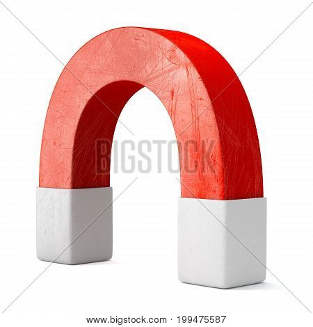 Red scratched magnet isolated on white background. 3d rendering