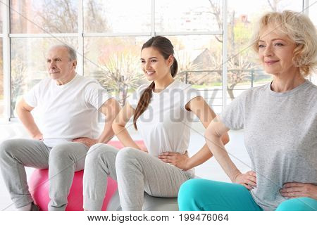 People training in modern clinic. Physiotherapy concept