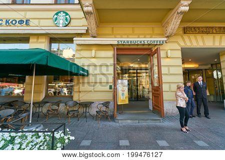 SAINT PETERSBURG, RUSSIA - CIRCA AUGUST, 2017: Starbucks coffee shop in Saint Petersburg. Starbucks Corporation is an American coffee company and coffeehouse chain.