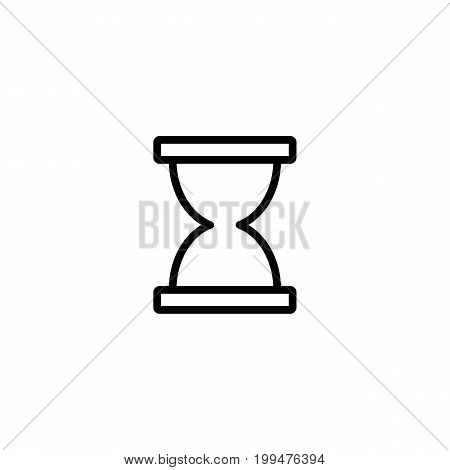 Thin Line Sand Clock Icon On White Background
