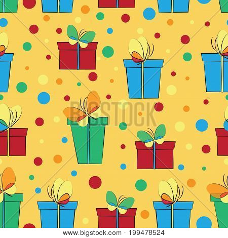 Gift boxes with butterflies. Seamless pattern. Design for textiles, tapestries, gift wrapping.