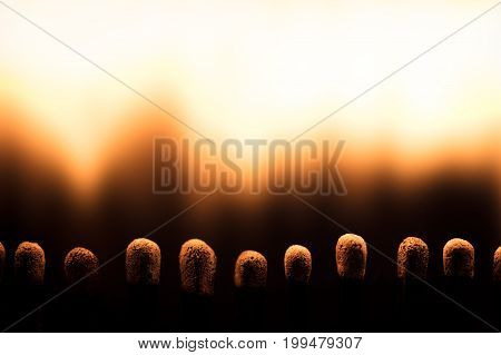 Closeup, Matchsticks Are Burning, Fire And Flames