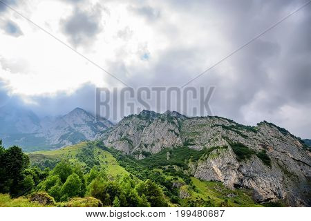 Scenic mountain landscape in North Ossetia or Alania, Russia