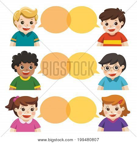 Group of happy smiling kids speaking together. Communication teamwork assistance and connection vector concept