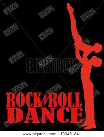 Billboard rock-n-roll dance. silhouette men and women on a black background. vector illustration