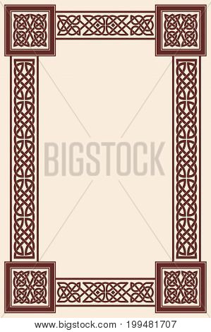 Background with frame Celtic national ornament interlaced tape.