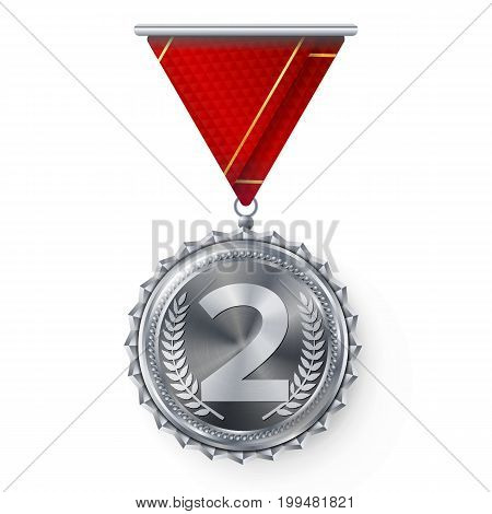 Silver Medal Vector. Best First Placement. Winner, Champion, Number One. 2nd Place Achievement. Metallic Winner Award. Red Ribbon. Isolated On White Background. Realistic Illustration.