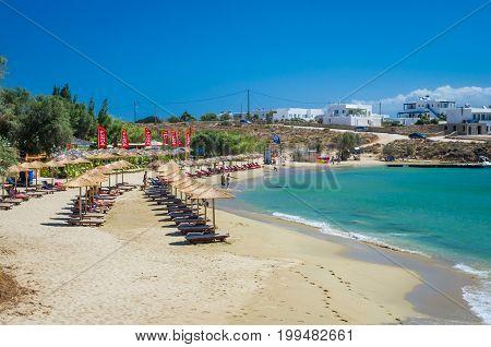 PAROS ISLAND, GREECE, JULY 5, 2017: The famous beach of Punda located in Paros island, Cyclades, Greece.
