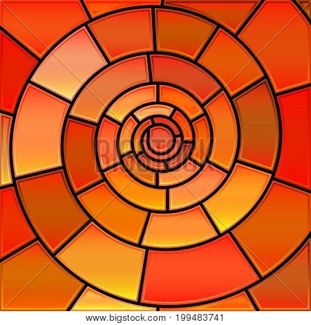 abstract vector stained-glass mosaic background - orange spiral