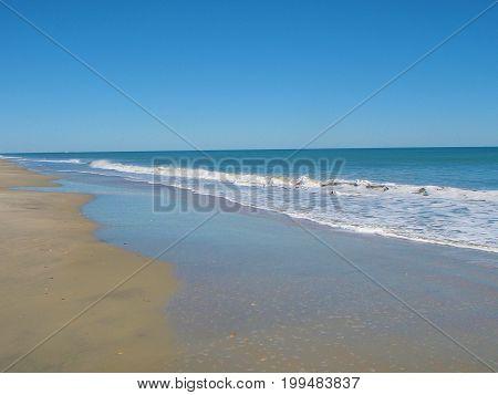 Waves receding in Myrtle Beach South Carolina