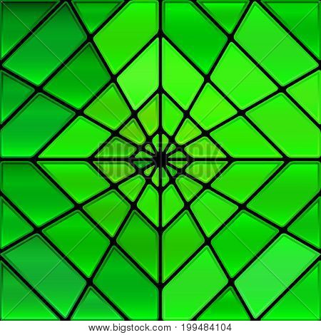 abstract vector stained-glass mosaic background - green rhombus