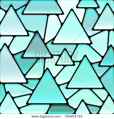 abstract vector stained-glass mosaic background - light blue triangles
