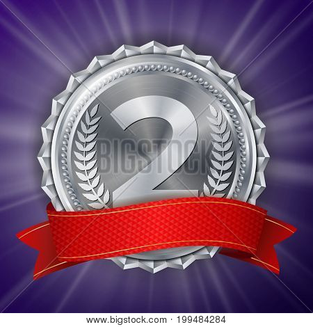 Silver Medal Vector. Silver 2nd Place Badge. Metallic Winner Award. Red Ribbon. Olive Branch. Realistic Illustration.