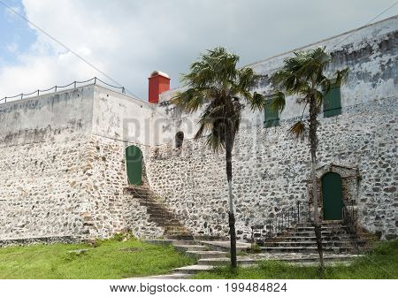 The backside of historic Fort Christian built by Denmark and Norway in 1680 in Charlotte Amalie town (St. Thomas island U.S. Virgin Islands)