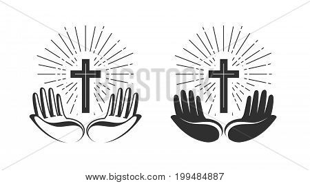 Religion concept. Bible, church, faith, pray icon or symbol. Vector illustration isolated on white background