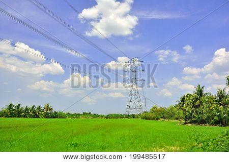 High voltage pole with blue sky natural landscape.