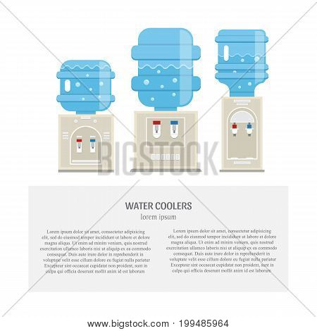 Vector set of  water cooler icons in trendy flat style. Gray water coolers with blue full bottles isolated on white background and place fot your text.