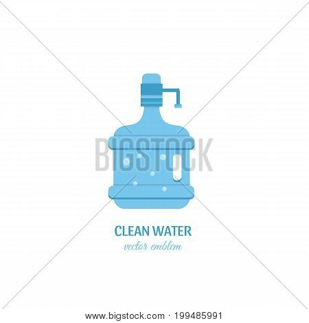 Clean water sign. Vector bottle of water  icons in trendy flat style. Blue full bottle isolated on white background