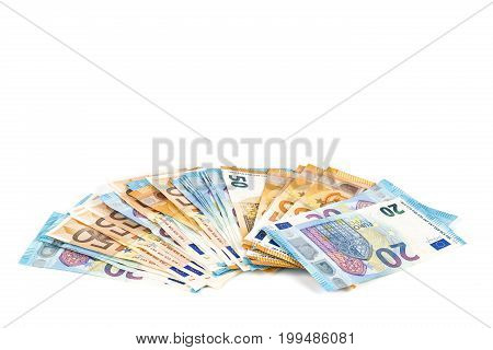 European union currency euro banknotes bills background.  20 and 50 euro. Concept success rich economy. On white background Europe
