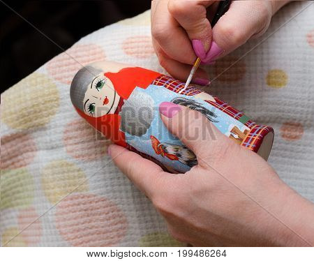The Artist Draws A Doll-matryoshka. Hand Closeup