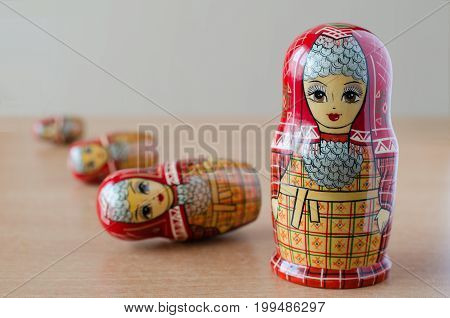 Red Matryoshka. Blurred Background. Close-up
