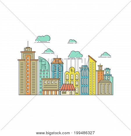 Modern city illustration with skyscrapers, different office building, church and clouds made in vector. Skyscraper collection. Flyer or banner template with modern line style town graphic.