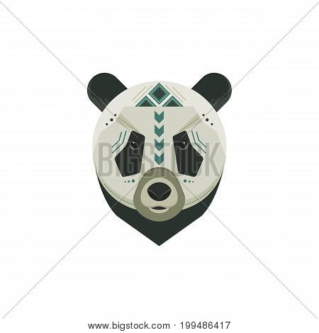 Vector portrait of a panda made in trendy flat style. China animal symbol. Safari label or t-shirt design with cute animal character.