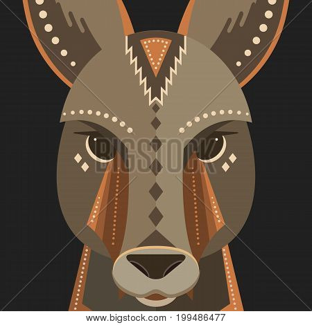 Vector poster of a kangaroo made in trendy flat style. Australia animal symbol. Perfect for travel magazine or t-shirt design with cute animal character.