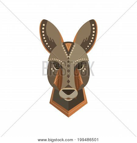 Vector portrait of a kangaroo made in trendy flat style. Australia animal symbol. Safari label or t-shirt design with cute animal character.