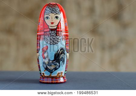 Rooster - A Symbol Of The New Year. The Picture On The Doll Matryoshka